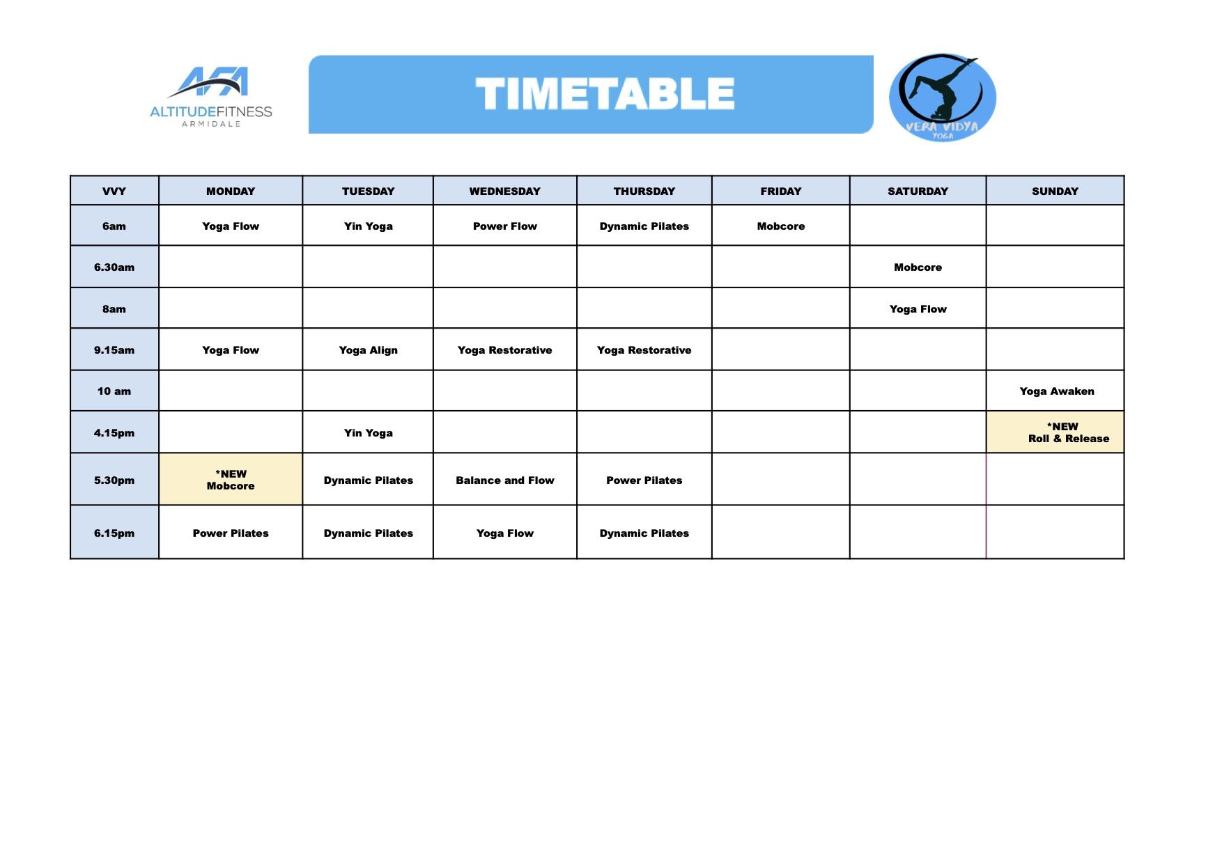 Coroncise timetable